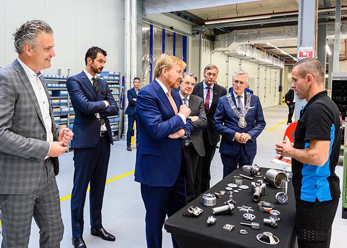 Tijdens een rondgang over de Campus  bezocht de koning KMWE, Summa College en Fieldlab Flexible Manufacturing. (Foto's: BIC/SDKVastgoed)
