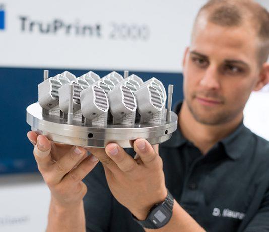 Trumpf laat zeker een metaalprinter zien maar legt vooral de nadruk op de toepassingen.
