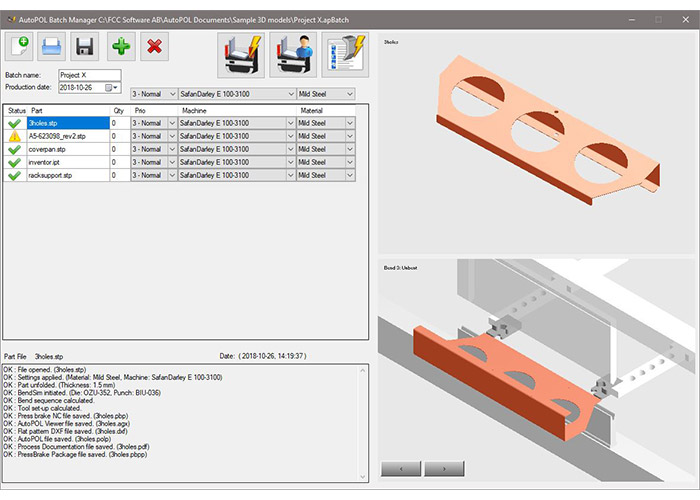 Met de nieuwste versie van AutoPOL BendSIM voor kantbanken kan een optimale planning van het werk automatisch worden gegenereerd.