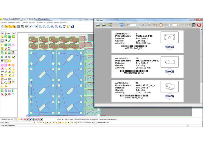 PROfirst V11 heeft een compleet nieuwe interface. De labelmodule om automatisch stickers te kunnen printen is uitgebreid zodat ook barcodes kunnen worden geprint en de layout zelf is te maken.