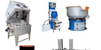 Topfinish demonstreert diverse machines voor finishing en reiniging.