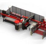 Voorbeeld van automatiseringsoplossingen voor Amada pons- en lasersnijmachines.