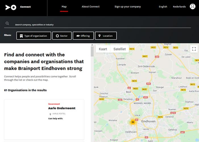 Wie Connect opent, ziet een grote kaart met prikkertjes en kan eenvoudig inzoomen op de eigen regio.