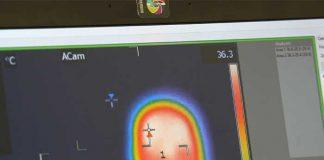 De eerste oplossing van Flanders Make is een systeem, gebaseerd op infrarood-metingen, dat de lichaamstemperatuur screent bij iedereen die binnenkomt.