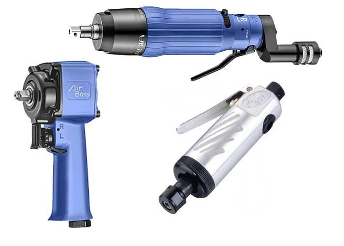Air Boss Air Tools voert een breed assortiment dat bestaat uit drie categorieën: lucht/olie puls gereedschappen (Air Oil Pulse Tools), slagmoersleutels en slijpers op lucht.