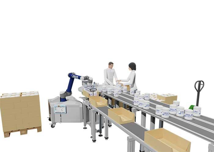 Door middel van cobots of robots aan de lopende band is het mogelijk extra afstand te houden, waar medewerkers normaal dicht op elkaar staan.