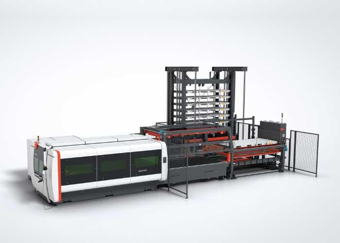 Een BySprint Fiber met ByTrans en ByTower. Door de overname van Weber Laserservice heeft Bystronic in de Benelux nu bijna 30 monteurs in het veld voor dit soort nieuwe systemen maar ook voor machines die al 25 jaar draaien.