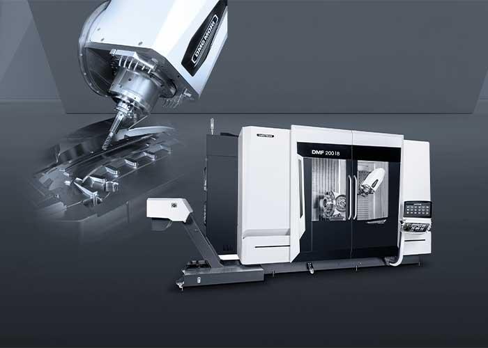 De DMF 200 8 met beweegbare kolom heeft een opvallend grote werkruimte. Door het innovatieve gereedschapwissel-concept is deze maar liefst 50 procent groter dan de werkruimte van het voorgaande model.