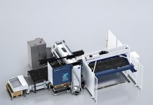 De TruPunch 3000, compleet met Sheetmaster Compact en Sortmaster Compact. Door de machine uit te rusten met een 3 kW laserbron ontstaat een ponslasercombinatie.