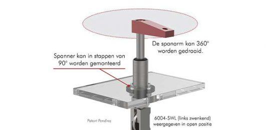 De spanarm gaat eerst omhoog en zwenkt dan weg zodat het product gemakkelijk geladen of uitgenomen kan worden.