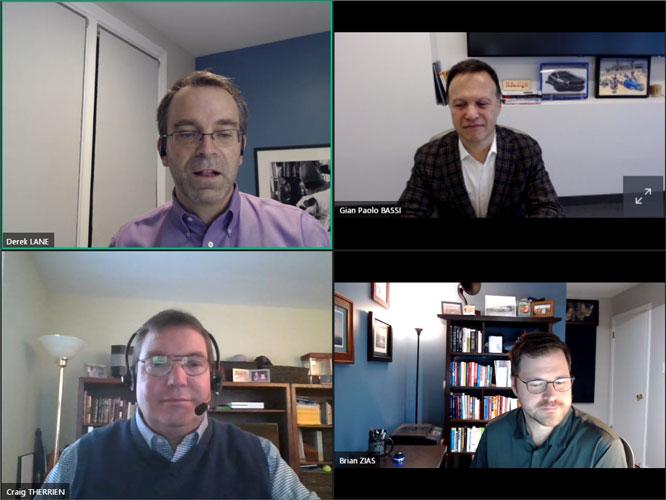 Gian Paolo Bassi, Derek Lane, Craig Therrien en Brian Zias tijdens de presentatie van de SolidWorks 2021.