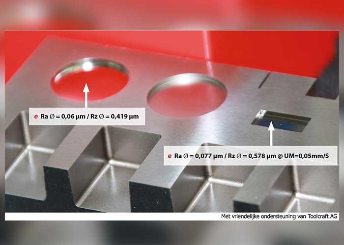 Een teststuk van Toolcraft dat de prestaties van de nieuwe zinkvonkgenerator exogen illustreert.