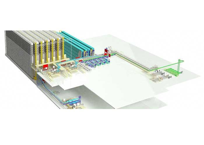 Het hart van de logistieke oplossing voor Liebherr is een zes-gangen geautomatiseerd silo-hoogbouwmagazijn met 18.000 palletplaatsen. Het magazijn heeft een lengte van 80 meter, is 75 meter breed en heeft een hoogte van 30 meter.