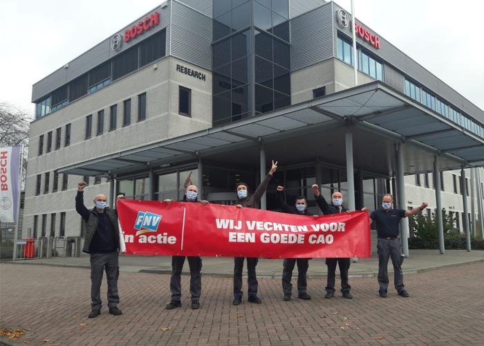 Medewerkers van Bosch in Deventer startten in november actie voor een betere cao