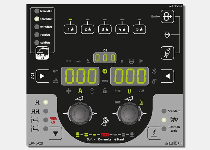 De op alle XQ-apparaten beschikbare LP-besturing heeft favorietknoppen waarmee gebruikers hun persoonlijke lasinstellingen kunnen opslaan.
