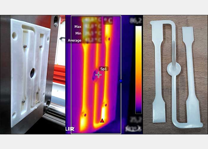 De foto laat links een additief vervaardigde spuitgietmatrijs zien, in het midden het is het spuitgietproces zichtbaar en rechts het gegoten prototype