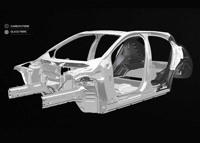Jaguar Land Rover wil met composietmaterialen in plaats van aluminium en staal de stijfheid van carrosserieën vergroten, het gewicht laten afnemen en de veiligheidsstructuur verfijnen.