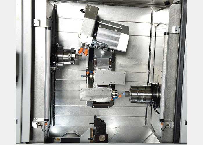 De Microturn-Grind van Spinner is voorzien van drie slijpspillen voor zowel uitwendig als inwendig slijpen