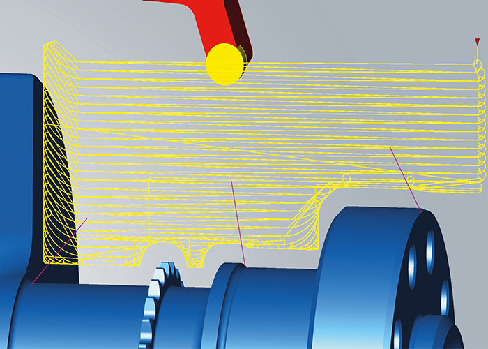 High-performance-gereedschapsbanen met geoptimaliseerde aan- en afvoerbewegingen zijn eenvoudig te gebruiken tijdens het simultaandraaien.