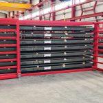 Het semi-automatische magazijnsysteem van Upmoviom biedt de gebruiker op een compacte ruimte een ordentelijke en makkelijk toegankelijke opslag van platen.