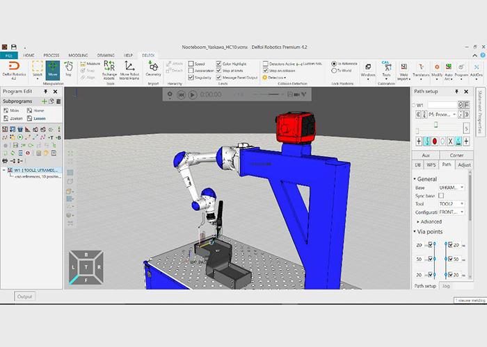De cobot is door Automise volledig geïntegreerd in de offline programmeersoftware Delfoi.