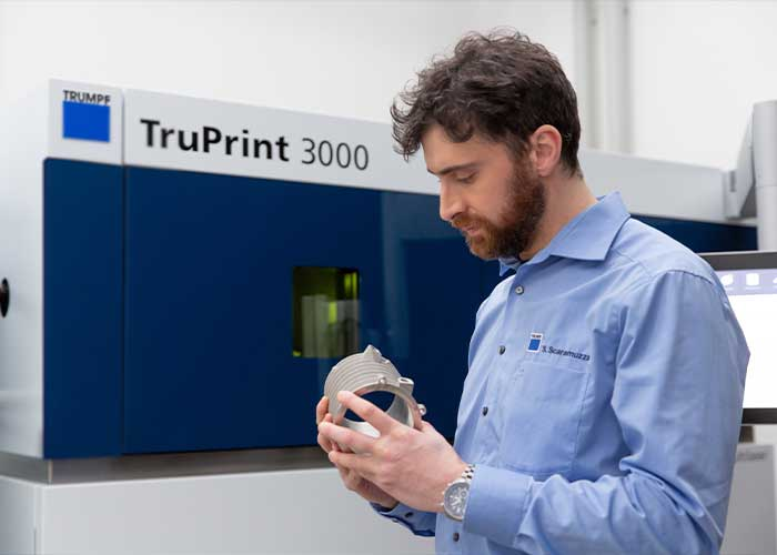 De nieuwe TruPrint 3000 produceert onderdelen met een maximale diameter van 300 mm en een hoogte van 400 mm.
