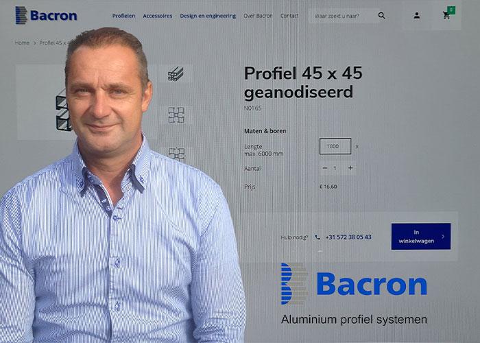 In de nieuwe webshop van Bacron, het bedrijf van directeur Paul Reimert, kunnen snel en eenvoudig losse aluminium constructieprofielen en de bijbehorende accessoires worden besteld.