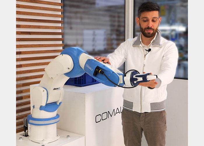 De Racer-5 Cobot van Comau kan direct overschakelen van een samenwerkingsmodus naar industriële snelheid wanneer er geen operators in de buurt zijn.