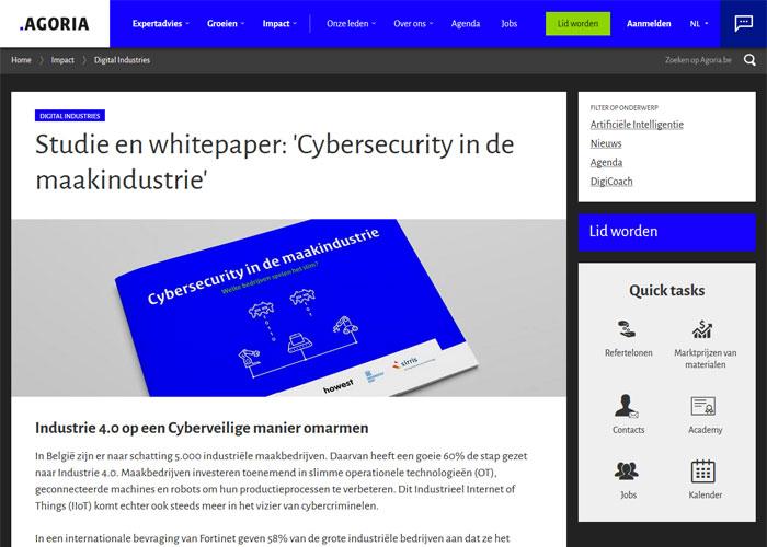 Om te achterhalen hoe het is gesteld met de cyberveiligheid van maakbedrijven in België, organiseerden Agoria, Howest, UGent en Sirris eind 2020 een diepgaande bevraging onder 57 Belgische maakbedrijven.
