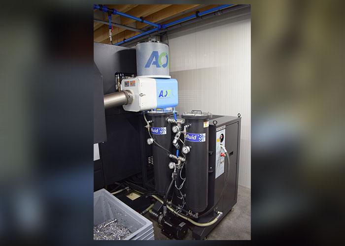 De hogedrukpomp bereikt een koelmiddeldruk van 70 bar voor een optimale spaanafvoer. Dit is van wezenlijk belang bij onbemand produceren.