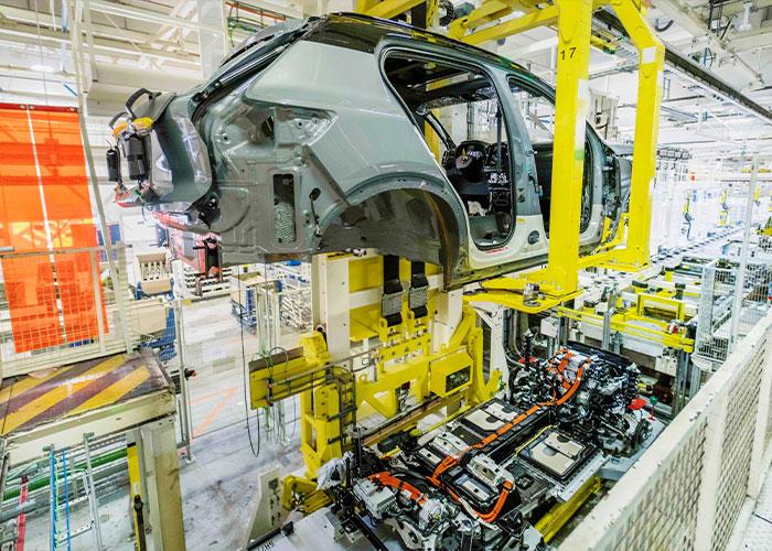 Productie van de Volvo XC40 Recharge in Gent (B).