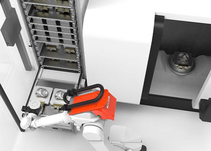 De Tower is de meest geavanceerde automatisering van RoboJob. Een magazijn kan worden voorzien van ruwe materialen, maar ook van pallets en opspanmiddelen.