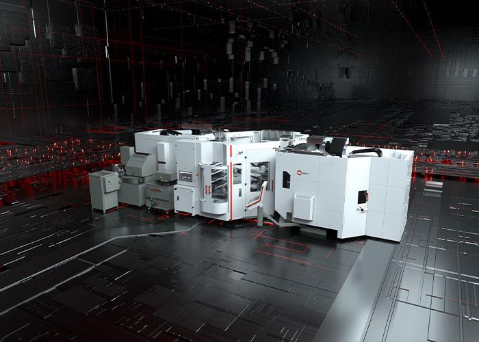 Het Robotsysteem RS 1 is gekoppeld aan twee C 32 U bewerkingscentra van Hermle. De RS 1 is zowel geschikt voor pallet- als werkstukautomatisering. (foto: Hermle)