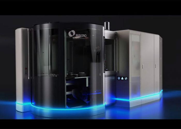 Een sneak preview van de e・Machine. De geruchten gaan dat Makino de nieuwe Athium aluminiumlegering gebruikt voor het machineframe en diverse bewegende onderdelen (foto: Makino)