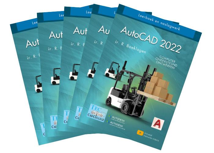 Het dikste boek gaat over AutoCAD 2022 en beslaat 1580 pagina's.
