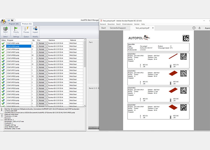 Bij de productievolgorde wordt ook een QR-code gegeven per programma. Zo hoeft de kanter het programma niet op te zoeken in lange lijsten, maar kan hij simpelweg de code scannen.