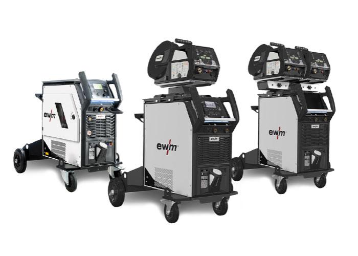 De XQ-serie van EWM. De machines kunnen worden gekoppeld aan het Xnet lasmanagementsysteem, waarmee alles wat de lasmachines doen automatisch wordt geregistreerd.