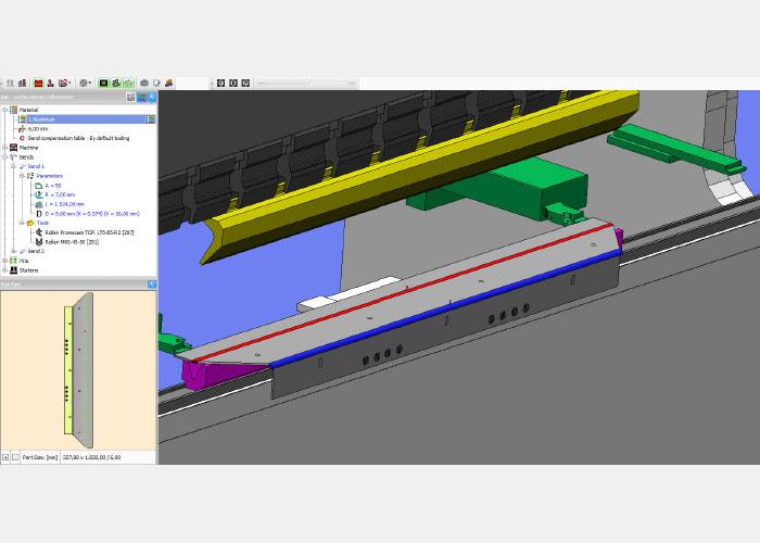De kantbank die de werkvoorbereider op zijn scherm in de visualisatie ziet, is volledig de kantbank die hij programmeert.