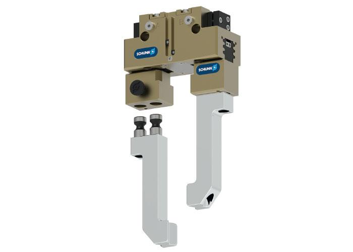 Voor het ontgrendelen van het BSWS-M snelwisselsysteem hoeft men alleen maar op de ontgrendelingsknop te drukken en de grijpvingers kunnen worden verwijderd.
