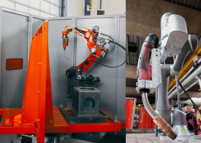 Lasrobots (links) bieden meer mogelijkheden op het gebied van lastechniek, output, uitbreiding naar de toekomst en levensduur. De TM-cobots die ook voor cobotlassen kunnen worden ingezet zijn standaard voorzien van geïntegreerde vision.