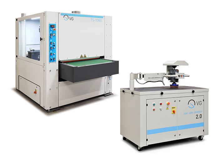 De TS-serie: een modulaire ontbraammachine in 1.060mm of 1.330mm en de semi-automatische ontbraamtafel Disc Arm Grinder (DAG).