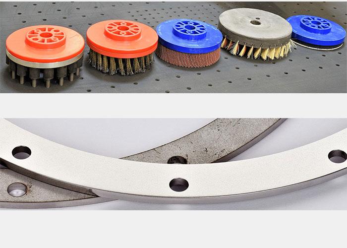 Een schematische weergave van drie modules: schuurband, topborstels en borstelwals.