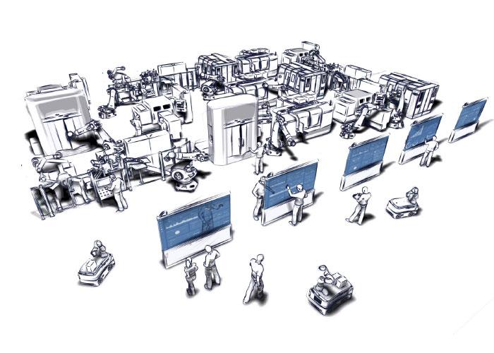 In het IoP-cluster wordt gewerkt aan besturingssystemen in de cloud voor de productie van de toekomst. (Tekening: Martin Riedel/Internet of Production)