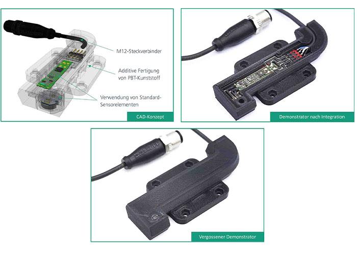 Demonstrator van de geïndividualiseerde sensor in de verschillende productiefasen: CAD-concept (linksboven), na de integratie van de elektronische componenten (rechtsboven) en als afgewerkte demonstrator (onder).