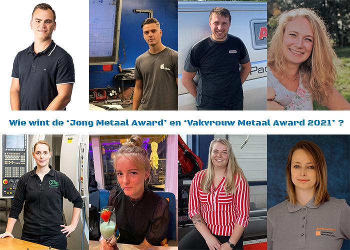 De genomineerden voor de 'Jong Metaal Award' en de 'Vakvrouw Metaal Award'